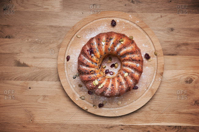 Bundt cake with cranberries and pumpkin seeds