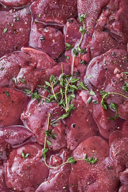 Raw meat with herbs and seasoning