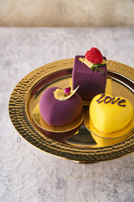 Yellow and purple gourmet desserts