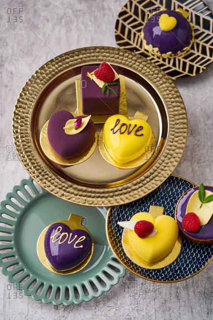 Yellow and purple Valentines desserts
