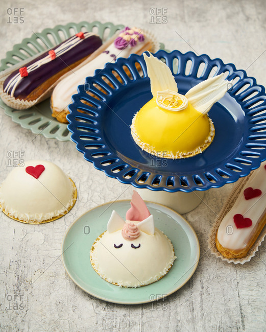 Gourmet pastries with hearts and a unicorn
