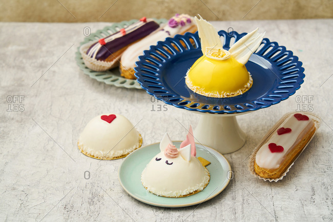 Gourmet desserts with hearts and a unicorn