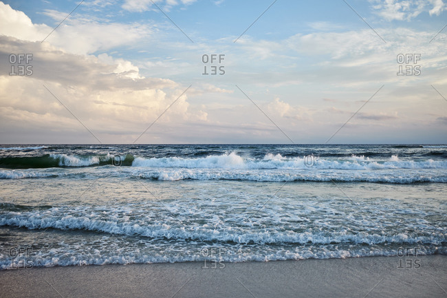 Shoreline with waves at beach