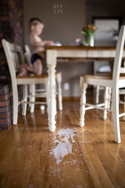 Milk mess made by toddler spilling milk off high tabletop