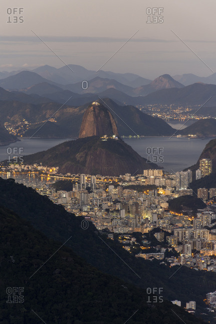 View to Sugar Loaf Mountain and the city from Tijuca Forest