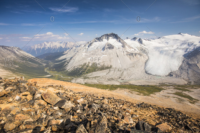 View of Athelney Pass and glaciated Mount Ethelweard, Canada.