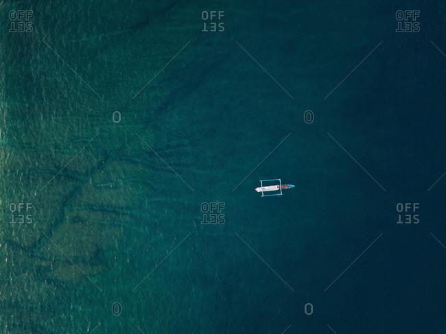 Aerial view of banca boat in the Indian Ocean