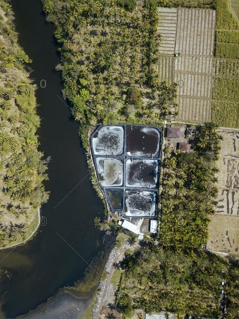 Aerial view of shrimp farm near ocean coastline