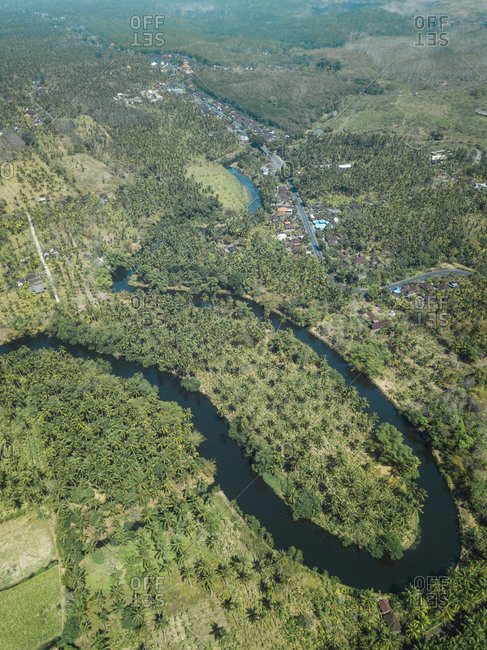 Tropical river from above, Bali, Indonesia