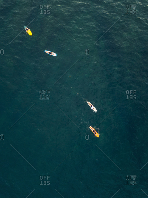 Aerial view of surfers in the ocean