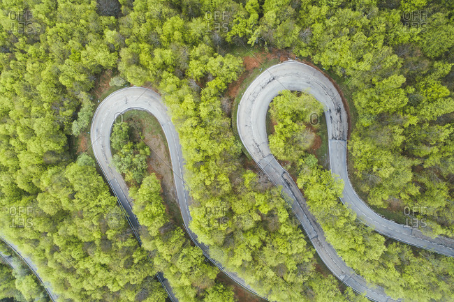 two curves from aerial view in Picos de Europa