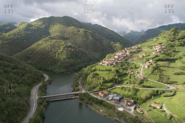 Coballes town from aerial view