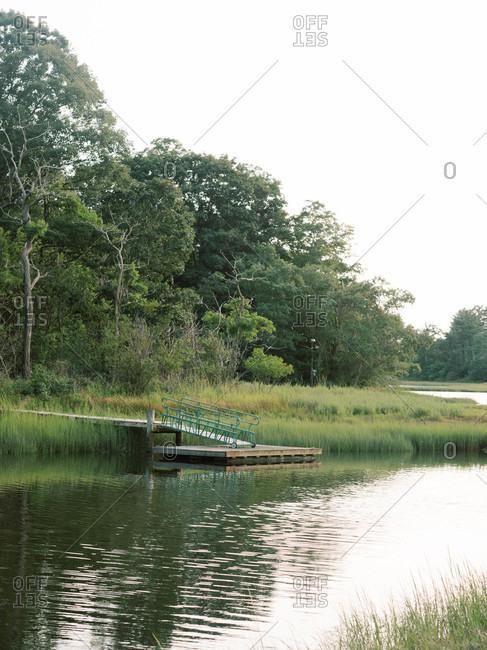 Little boat dock in the Massachusetts marshlands.
