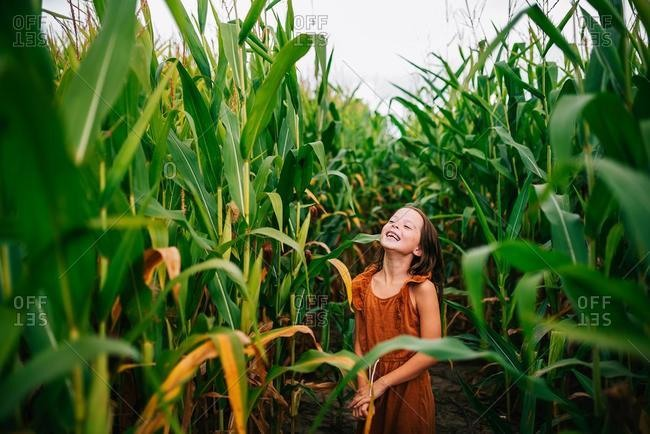Smiling girl playing in a corn field, USA