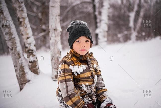 Portrait of a boy in a winter forest, Wisconsin, USA