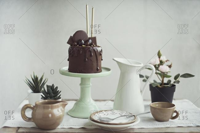 Chocolate cake with golden candles on a cake stand next to succulent plants and crockery