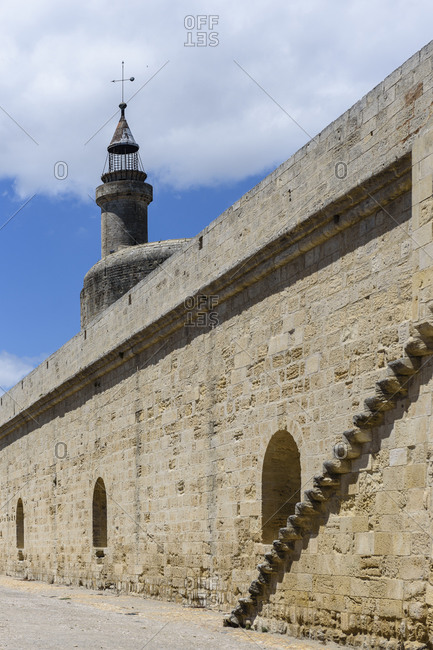 The medieval city walls surrounding the city of Aigues-Mortes, Gard, France