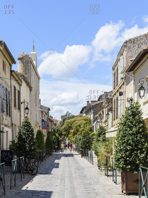 Aigues-Mortes, France - June 30, 2017: Street scene in the old town of Aigues-Mortes
