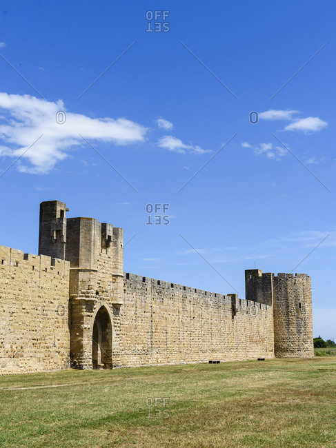Views of famous bastioned city of Aigues-Mortes, Gard, France