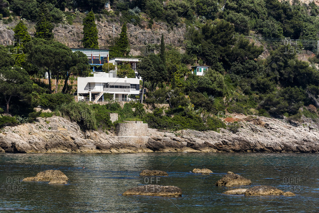 Roquebrune-Cap-Martin, France - May 25, 2018: View of Villa E-1027 designed by Eillen Gray at Plage du Buse in Roquebrune Cap Martin, Alpes-Maritimes France