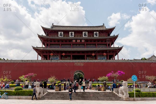 Jianshui, China - March 7, 2019: March 7, 2019: Chaoyang Gate Tower (south entrance gate) in Jianshui, Yunnan, China