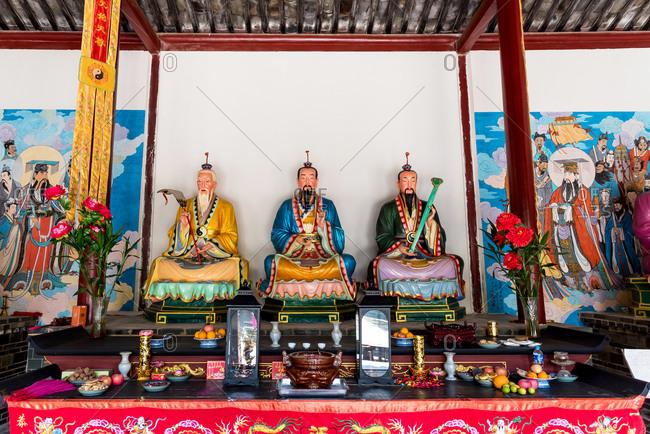 Jianshui, China - March 7, 2019: March 7, 2019: Statues in a Confucian Temple (Wenmiao) in Jianshui, Yunnan, China
