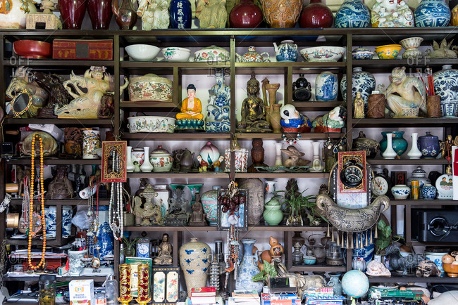Jianshui, China - March 7, 2019: March 7, 2019: A shop full of ceramic statues in the historic center of the city of Jianshui, Yunnan, China