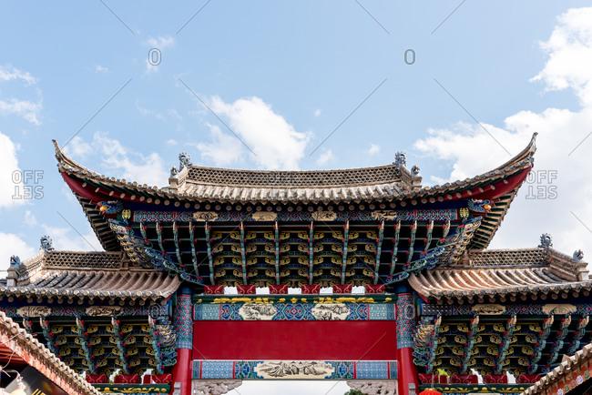 Jianshui, China - March 7, 2019: March 7, 2019: Detail of a building in the historic center of Jianshui, Yunnan, China