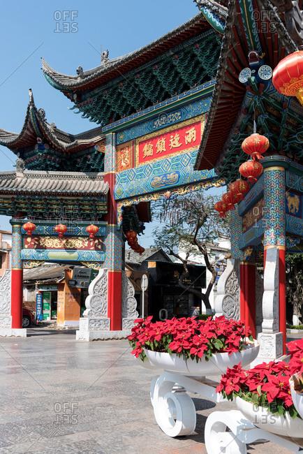 Jianshui, China - March 8, 2019: March 8, 2019: An ornamental wooden gate in the city of Jianshui, Yunnan, China