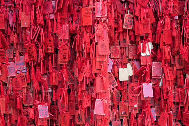 Jianshui, China - March 8, 2019: March 8, 2019: Lucky charm tokens in Confucian Temple, Jianshui, Yunnan Province, China
