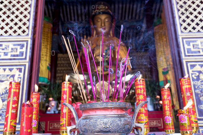Burned Incense Sticks in a Chinese temple