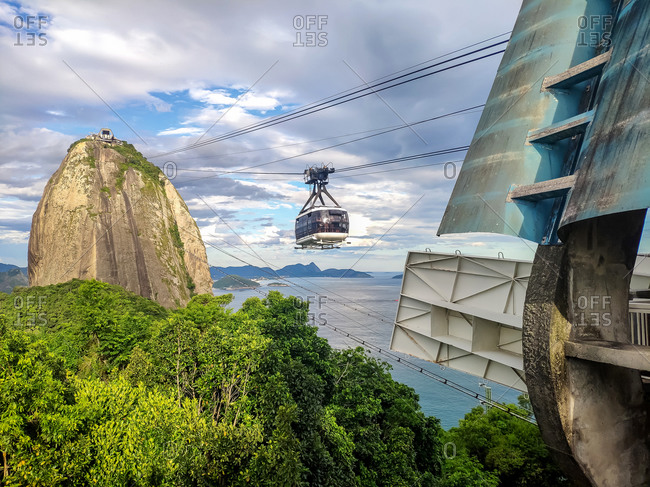 Views of the Sugarloaf mountain and cable railway at sunset, Rio de Janeiro, Brasil