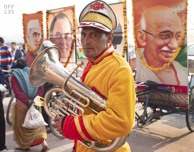 Haridwar, India - January 9, 2020: Music man hired to play music for politician meeting out on street