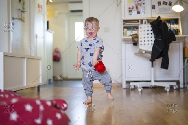 Happy boy at home