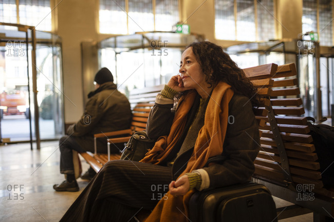 Woman waiting on train station