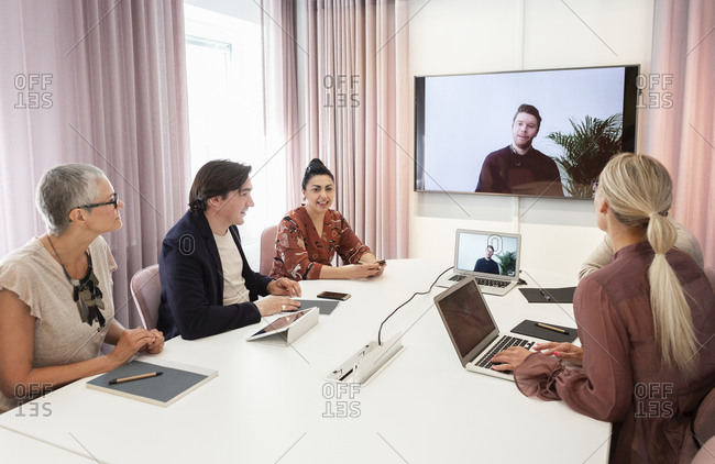 People during video conference