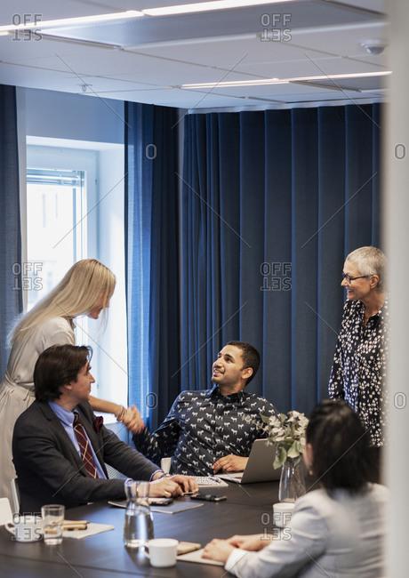 Coworkers at meeting