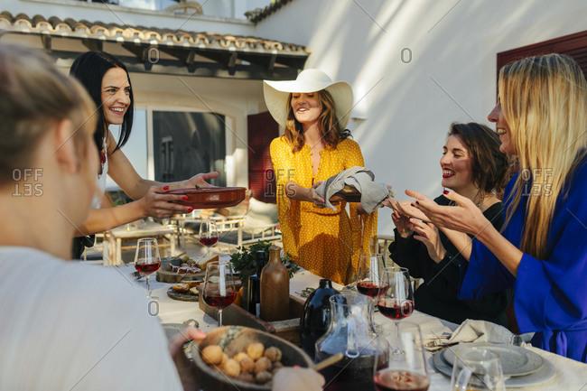 Female friends having meal