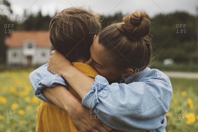 Female couple hugging