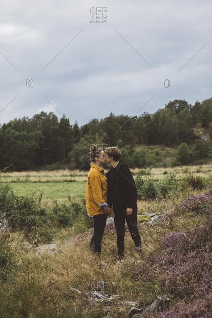 Female couple kissing