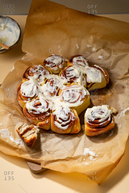 Cinnamon buns drizzled with white icing