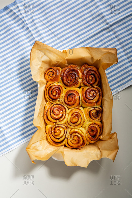 Cinnamon bun drizzled with syrup
