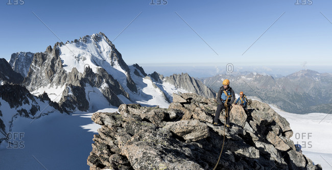France- Mont Blanc Massif- Chamonix- Mountaineers reaching La Petite Fourche