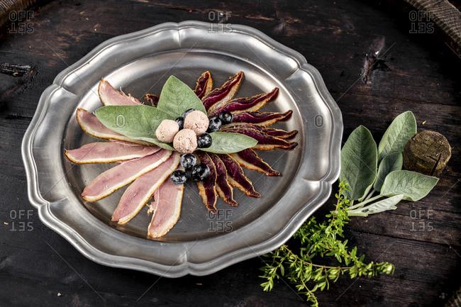 Austria- Plate of sliced goose meat