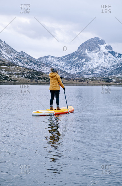 Woman stand up paddle surfing- Leon- Spain