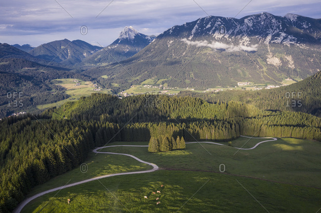 Austria- Tyrol- Eben am Achensee- Aerial view of winding road and green alpine forest in summer