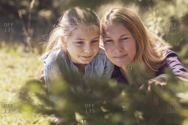 Mother and daughter watching insects on a tree