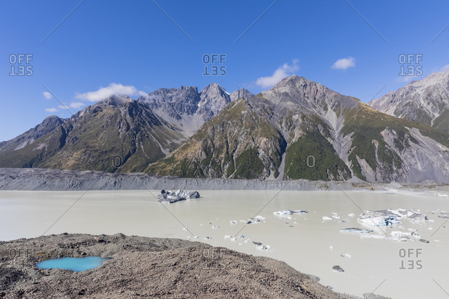 New Zealand- Oceania- South Island- Canterbury- Ben Ohau- Southern Alps (New Zealand Alps)- Mount Cook National Park- Tasman Glacier Viewpoint and Tasman Lake with ice floes