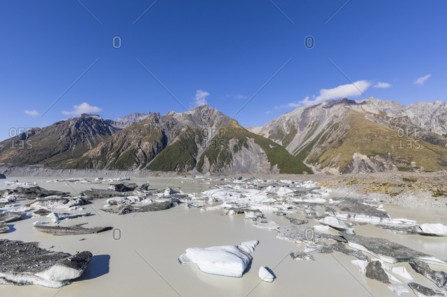 New Zealand- Oceania- South Island- Canterbury- Ben Ohau- Southern Alps (New Zealand Alps)- Mount Cook National Park- Tasman Lake with ice floes