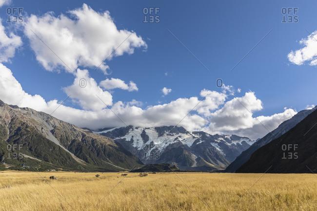 New Zealand- Oceania- South Island- Canterbury- Ben Ohau- Southern Alps (New Zealand Alps)- Mount Cook National Park- Aoraki / Mount Cook- Mountain landscape